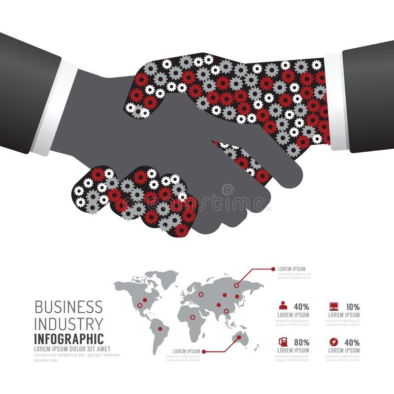 Infographic企业产业齿轮握手形状模板desi 皇族释放例证