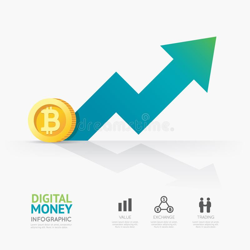 Infographic企业数字式cryptocurrency金钱模板desig 库存例证