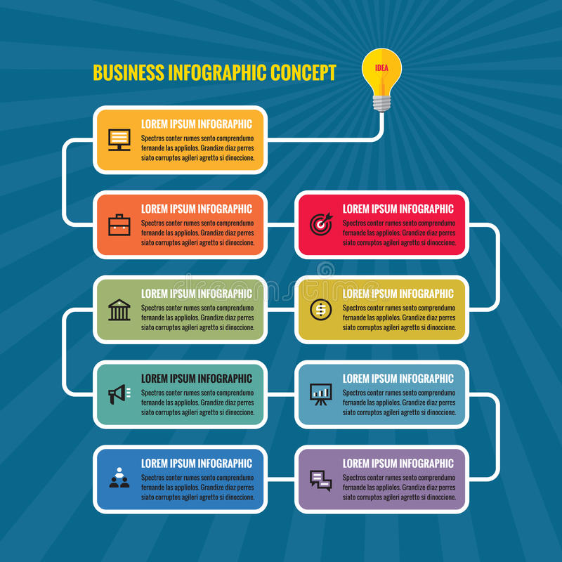 Infographic企业概念例证 电灯泡-创造性的想法过程横幅 皇族释放例证