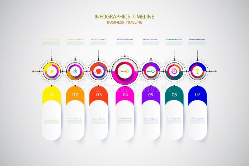 Infographic企业模板时间安排与3的技术元素 免版税库存图片