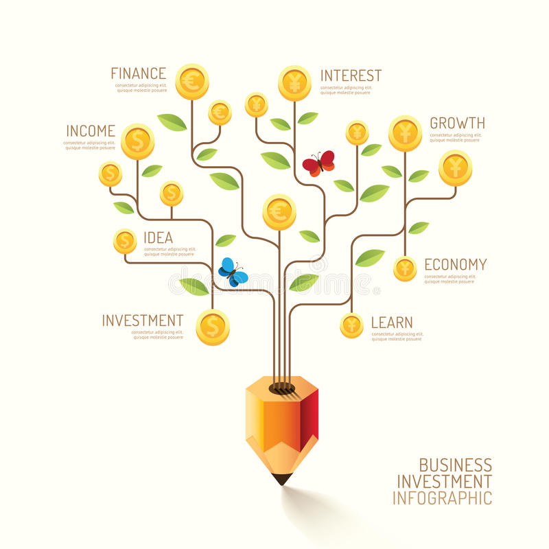 Infographic企业铅笔树和硬币平的线想法 Vecto 库存例证