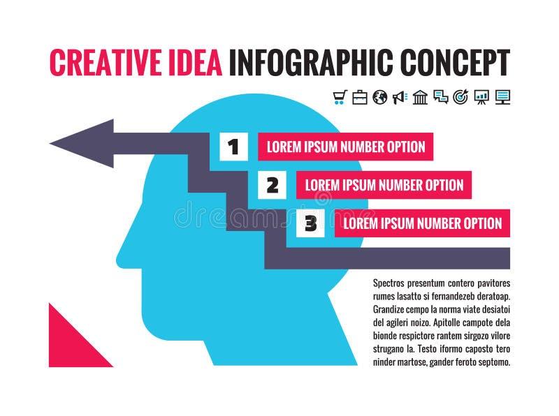 Infographic企业介绍的-有象的人头概念布局-被编号的横幅 创造性数字的选择 皇族释放例证