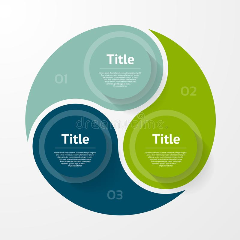 infographic传染媒介的圈子 图、图表、介绍和图的模板 与三个选择,零件,步的企业概念 向量例证
