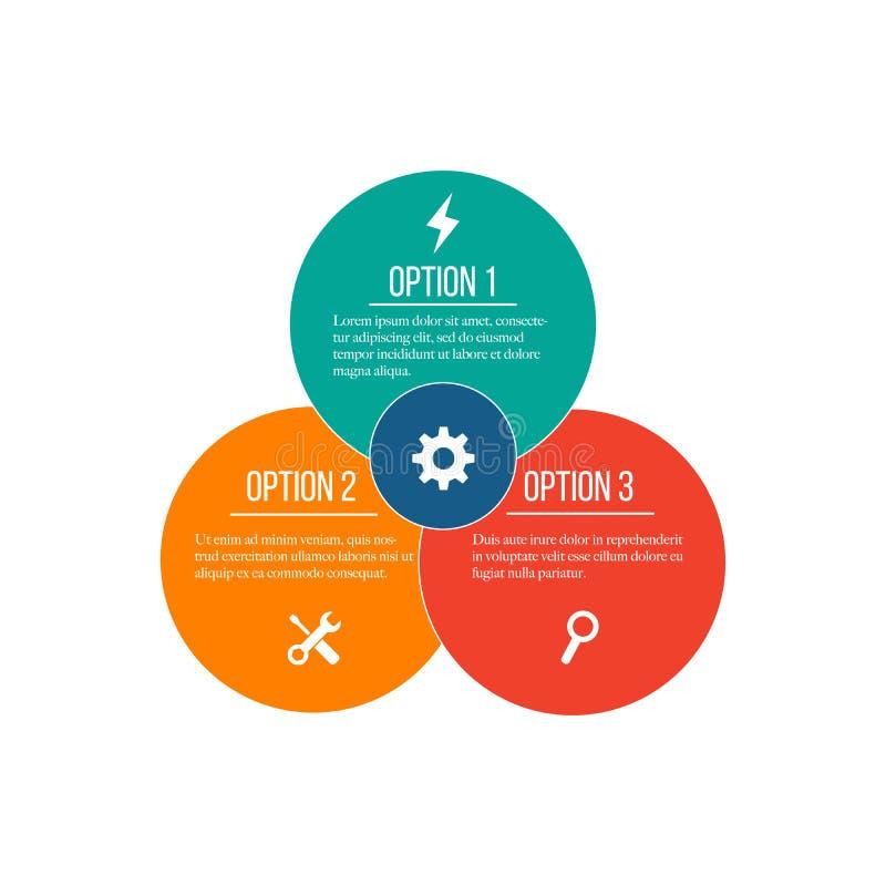 infographic传染媒介的圈子 图、图表、介绍和图的模板 与3个或4个选择,零件,步的企业概念 皇族释放例证