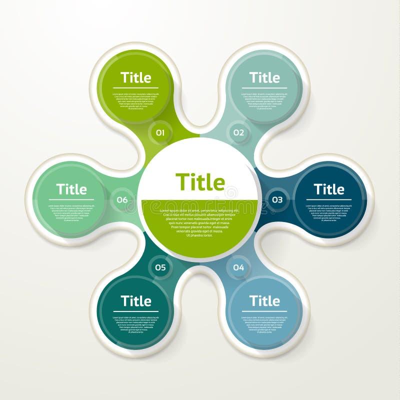 infographic传染媒介的圈子 图、图表、介绍和图的模板 与6个选择,零件,步的企业概念 皇族释放例证