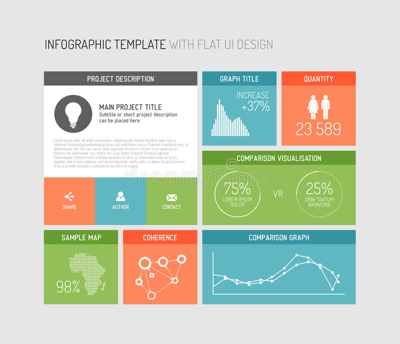 infographic传染媒介平的用户界面 库存例证