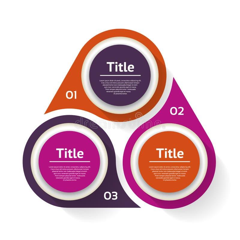 infographic传染媒介的圈子 图、图表、介绍和图的模板 与三个选择,零件,步的企业概念 库存例证