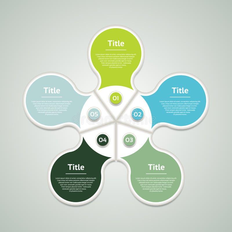 infographic传染媒介的圈子 图、图表、介绍和图的模板 与五个选择,零件的企业概念,跨步o 库存例证