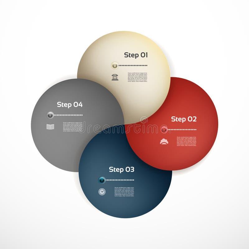 infographic传染媒介的圈子 图、图表、介绍和图的模板 与四个选择,零件的企业概念,跨步o 向量例证