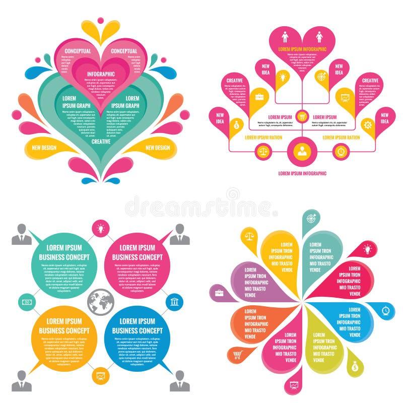 Infographic元素模板企业介绍、小册子、网站和其他设计项目的概念横幅 皇族释放例证