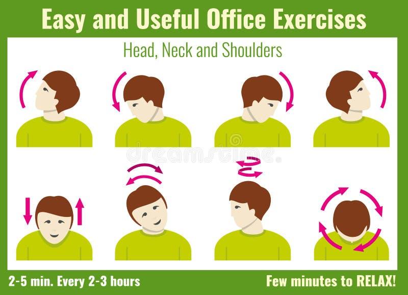 infographic办公室的综合症状 与商人的锻炼 传染媒介健康概念 库存例证