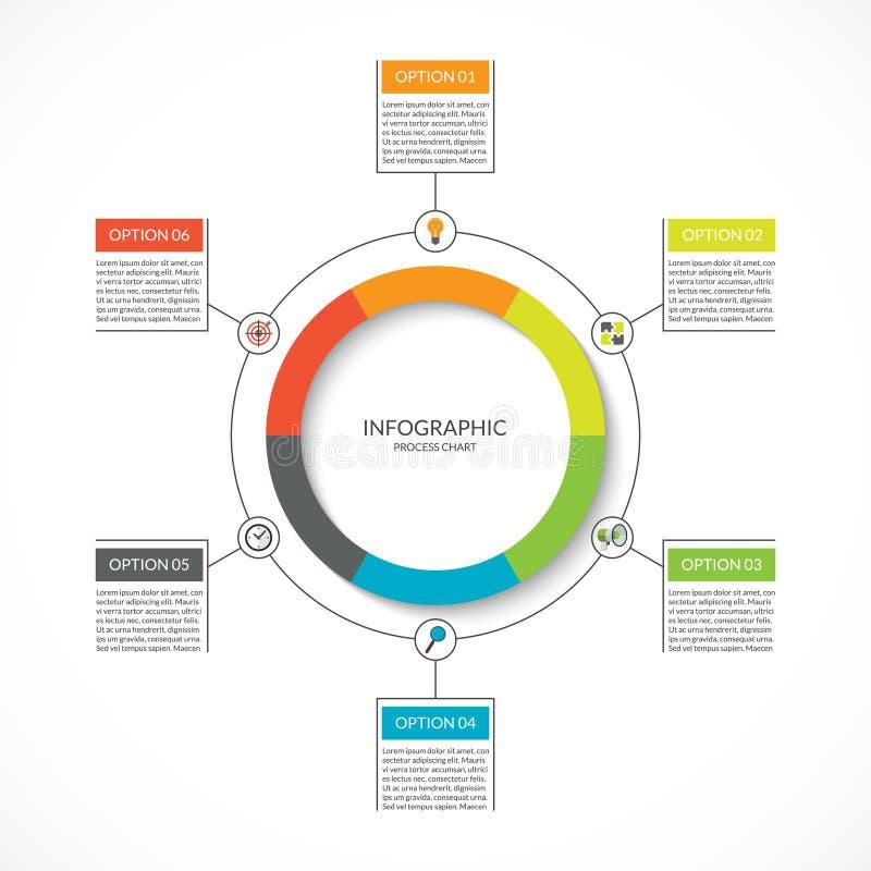 Infographic周期图 与6个选择的工艺卡片 向量例证