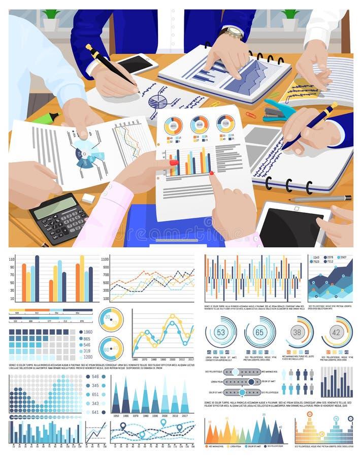 Infographic和流程图,业务会议 皇族释放例证