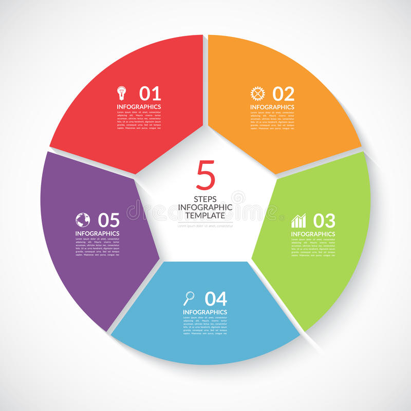 Infographic圈子横幅 导航与5步,零件,选择的模板 向量例证