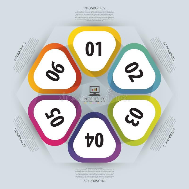 infographic圈子的六角形 周期图、图表、介绍和圆的图的模板 到达天空的企业概念金黄回归键所有权 也corel凹道例证向量 库存例证