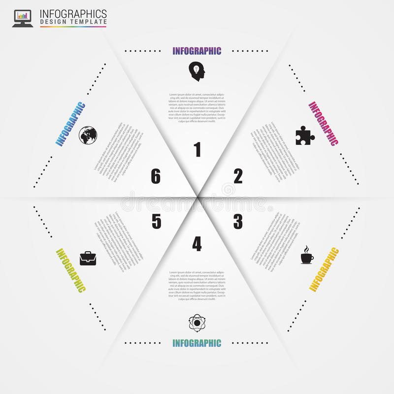 infographic圈子的六角形 周期图的模板 向量 向量例证