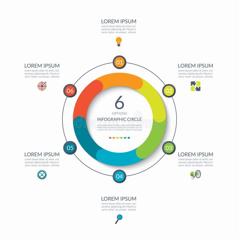Infographic圈子 6个选择,步,零件 图的,图表,图企业概念 边界月桂树离开橡木丝带模板向量 库存例证