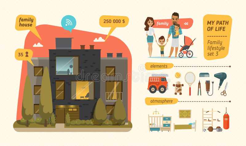 infographic家庭的生活方式 向量例证