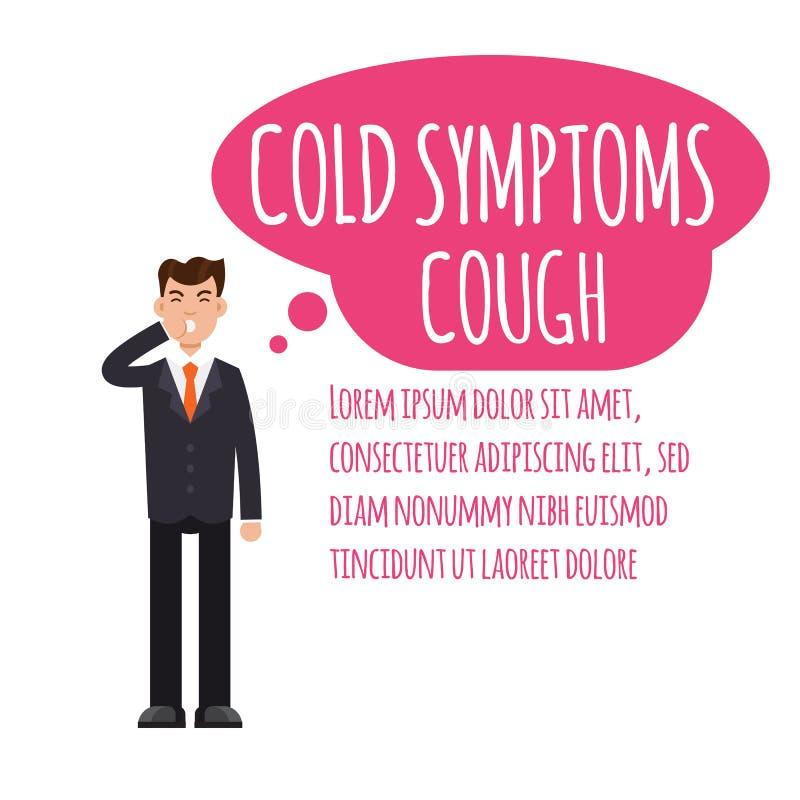 infographic寒冷、grippe、流感或者季节性流行性感冒的普通的症状 库存例证