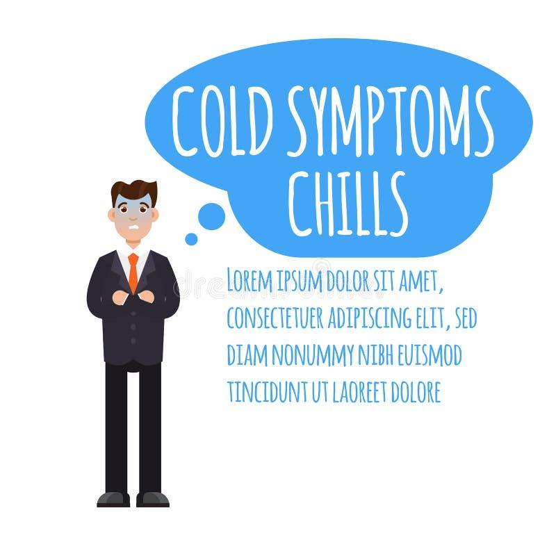 infographic寒冷、grippe、流感或者季节性流行性感冒的普通的症状 皇族释放例证