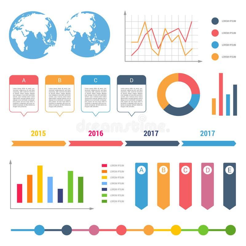 Infographic工作流图时间安排步图桌正文框流程图设计元素 向量例证