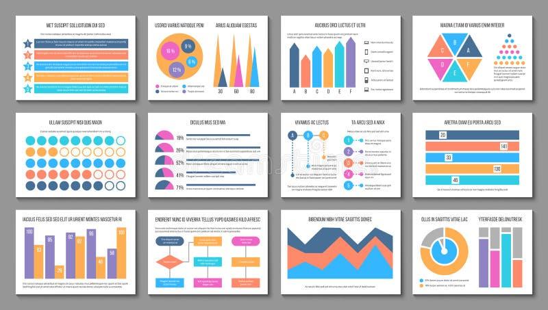 Infographic布局 企业介绍图图表,公司市场报告 多用途财务infographics 库存例证