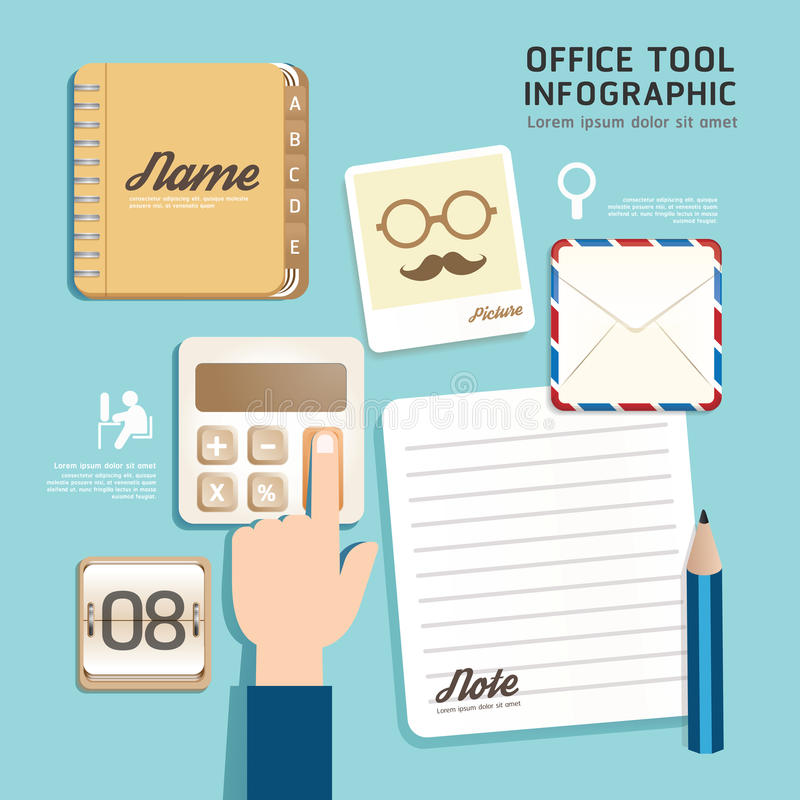 Infographic平的设计象办公室工具概念传染媒介。 皇族释放例证