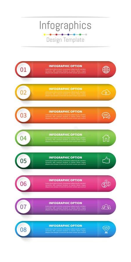 Infographic您的事务的设计元素与8个选择、部分、步或者过程 皇族释放例证