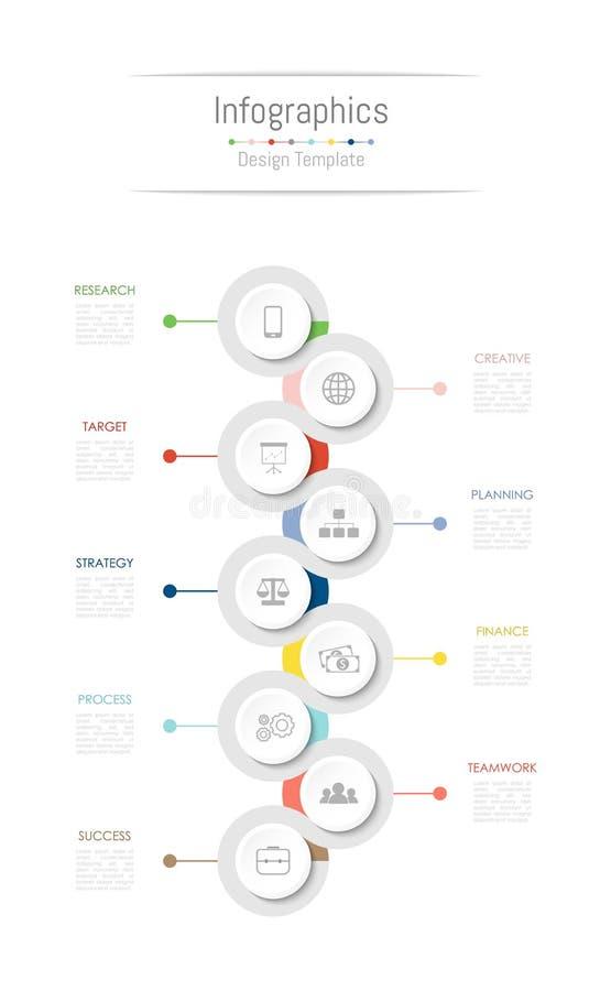 Infographic您的企业数据的设计元素与9个选择、部分、步、时间安排或者过程 向量 皇族释放例证