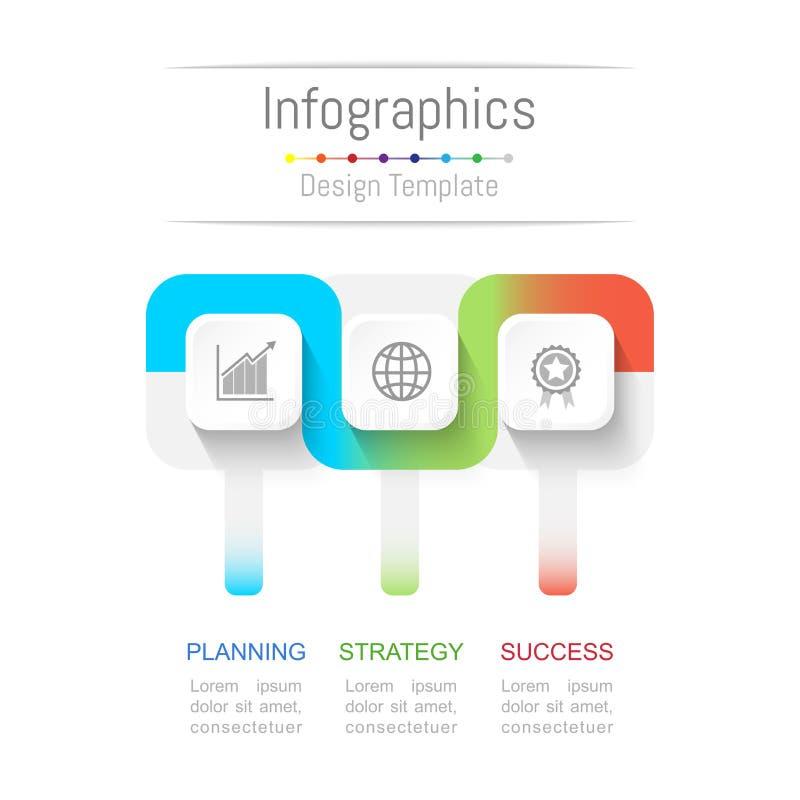 Infographic您的企业数据的设计元素与3个选择、部分、步、时间安排或者过程 连接线概念 皇族释放例证