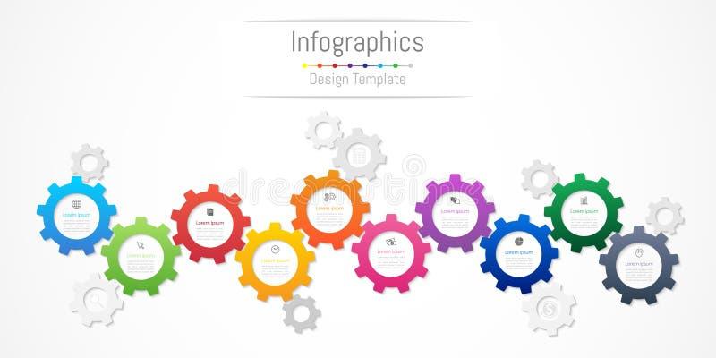 Infographic您的企业数据的设计元素与10个选择、部分、步、时间安排或者过程 链轮概念 皇族释放例证