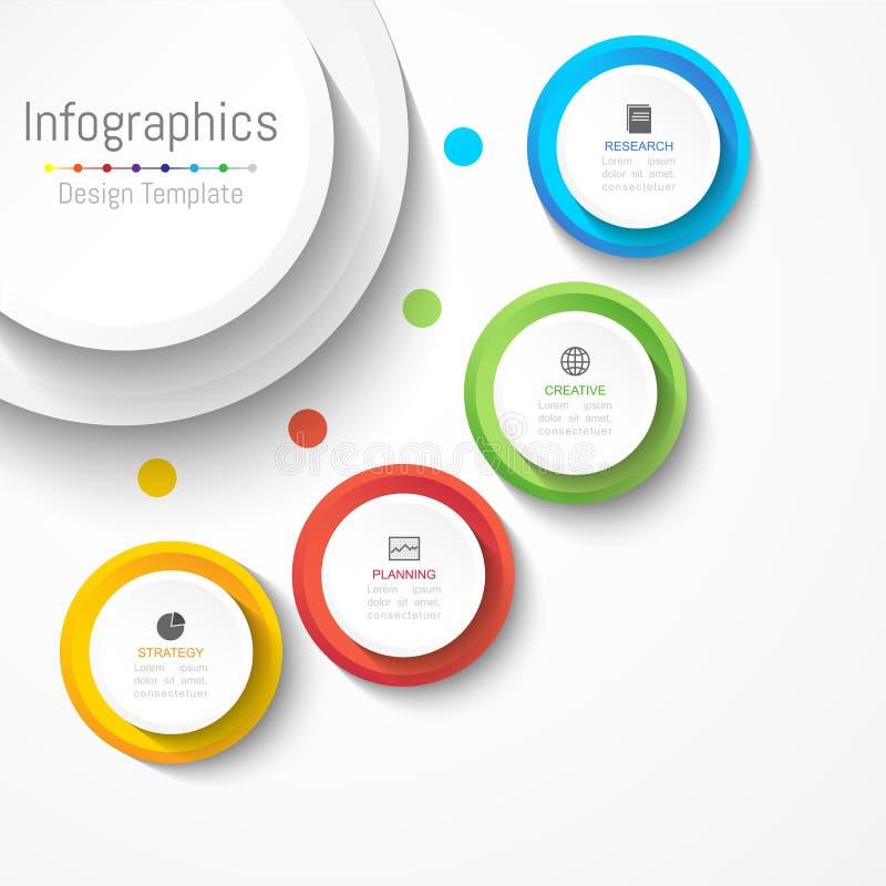 Infographic您的企业数据的设计元素与4个选择、部分、步、时间安排或者过程 皇族释放例证