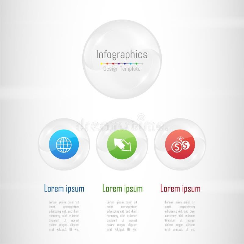 Infographic您的企业数据的设计元素与3个选择、部分、步、时间安排或者过程 向量例证