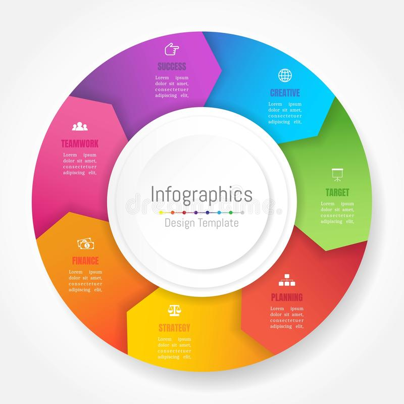 Infographic您的企业数据的设计元素与7个选择 向量例证