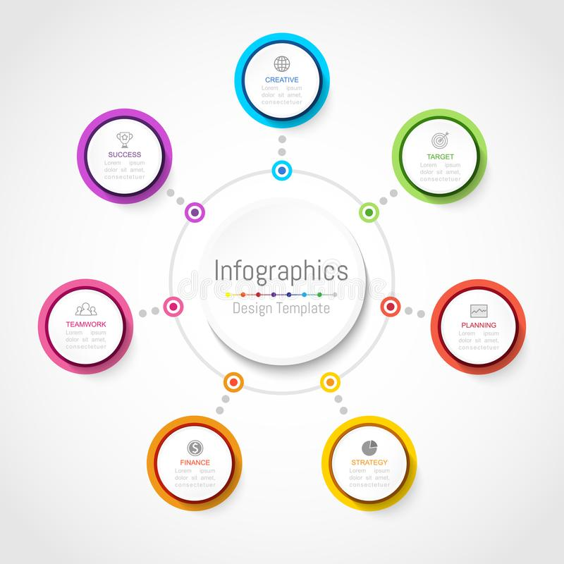 Infographic您的企业数据的设计元素与7个选择 库存例证