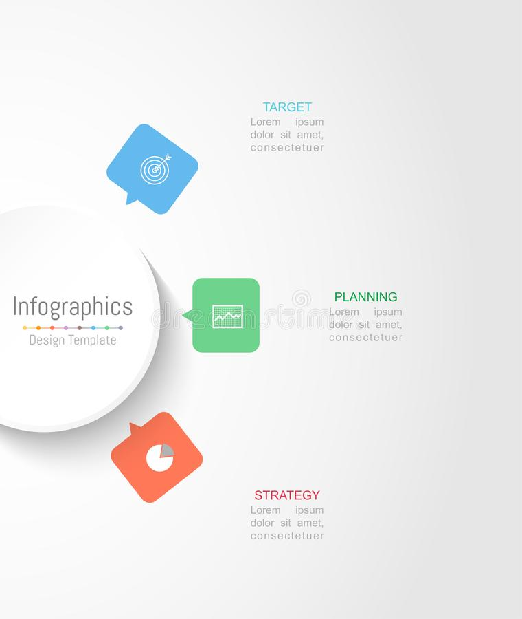 Infographic您的企业数据的设计元素与3个选择 皇族释放例证