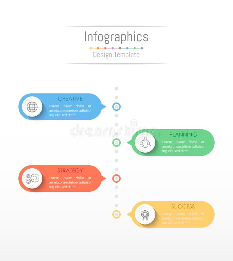 Infographic您的企业数据的设计元素与4个选择 库存例证