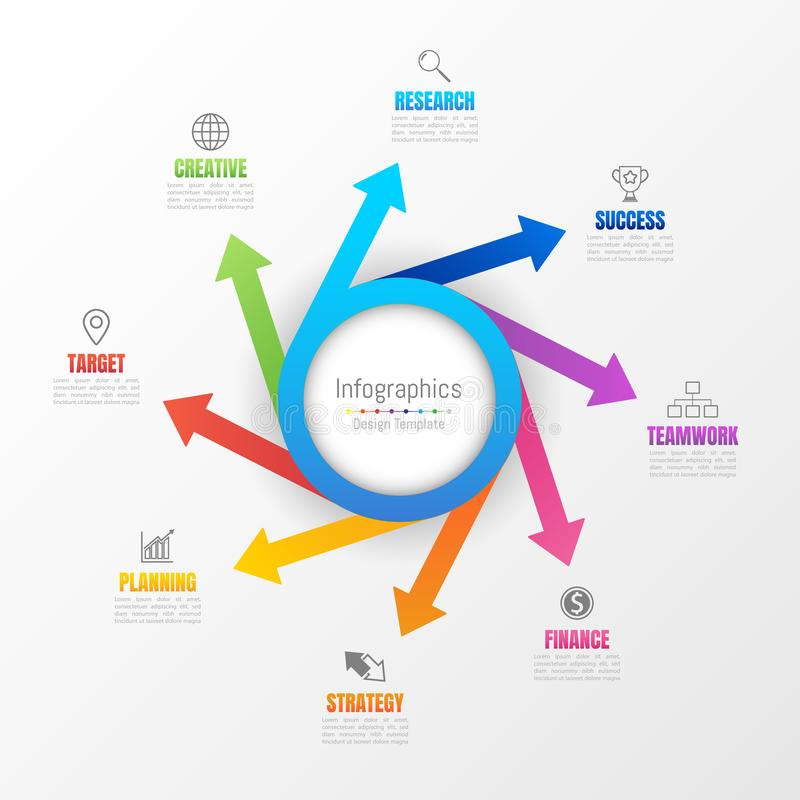 Infographic您的企业数据的设计元素与8个选择 库存例证