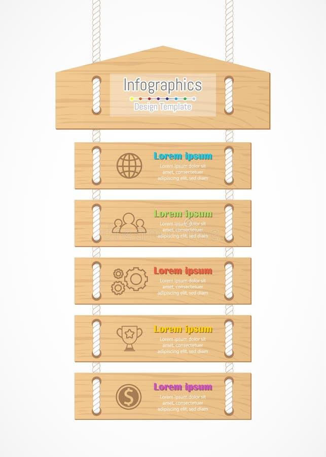 Infographic您的企业数据的设计元素与5选择 皇族释放例证