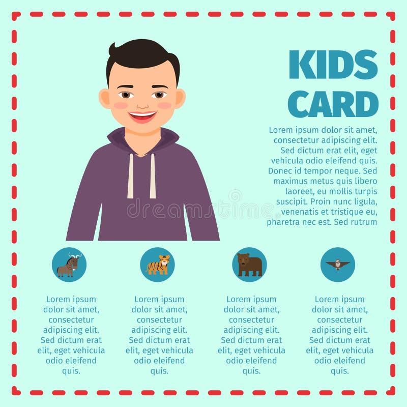 infographic愉快的黑发的男孩 向量例证