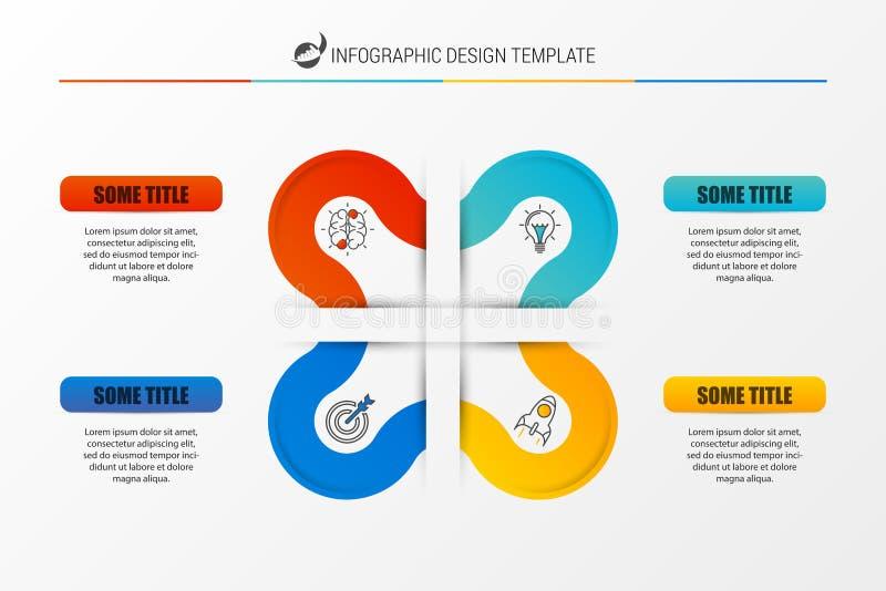 Infographic报告与4步的模板布局 向量 皇族释放例证