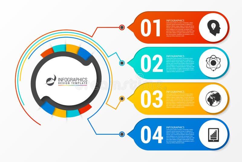 Infographic报告模板与4步的企业概念 皇族释放例证