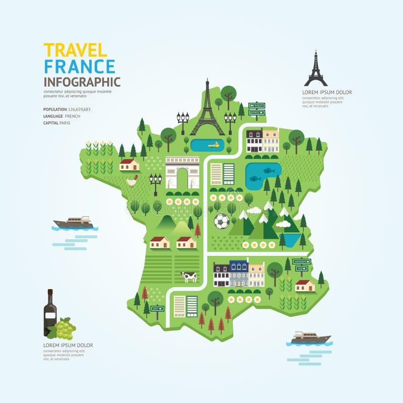 Infographic旅行和地标法国地图形状模板设计 皇族释放例证
