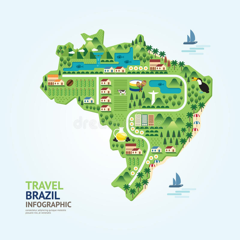 Infographic旅行和地标巴西地图形状模板设计 库存例证