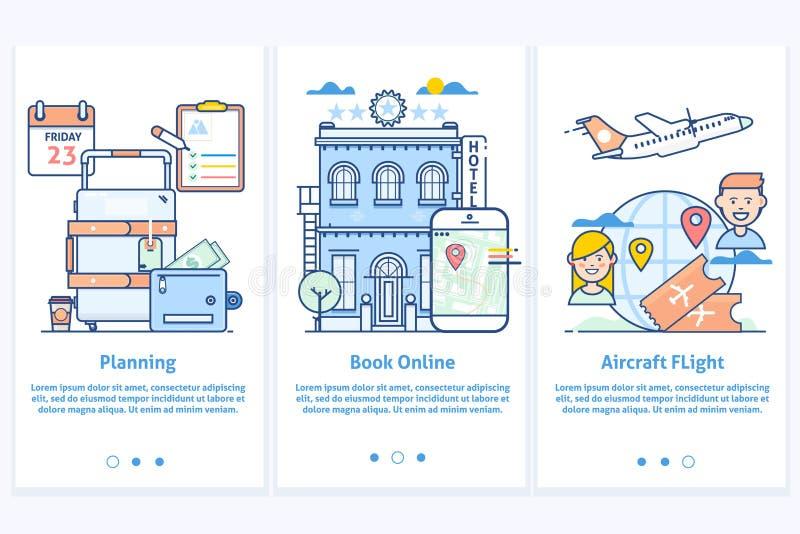 infographic旅行的网 网站例证 计划您的假期 现代蓝色接口UX UI GUI屏幕模板为 免版税库存照片