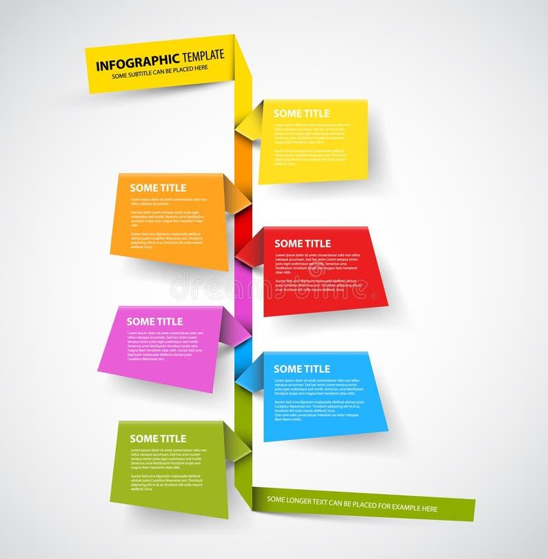 Infographic时间安排由五颜六色的纸做的报告模板 皇族释放例证