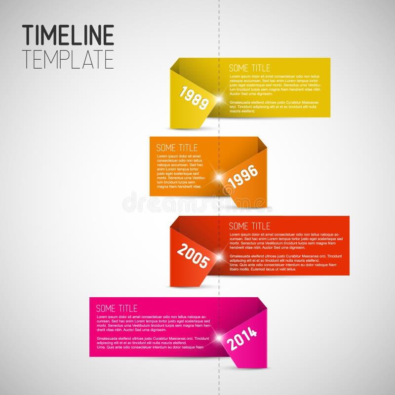 Infographic时间安排由五颜六色的纸做的报告模板 库存例证