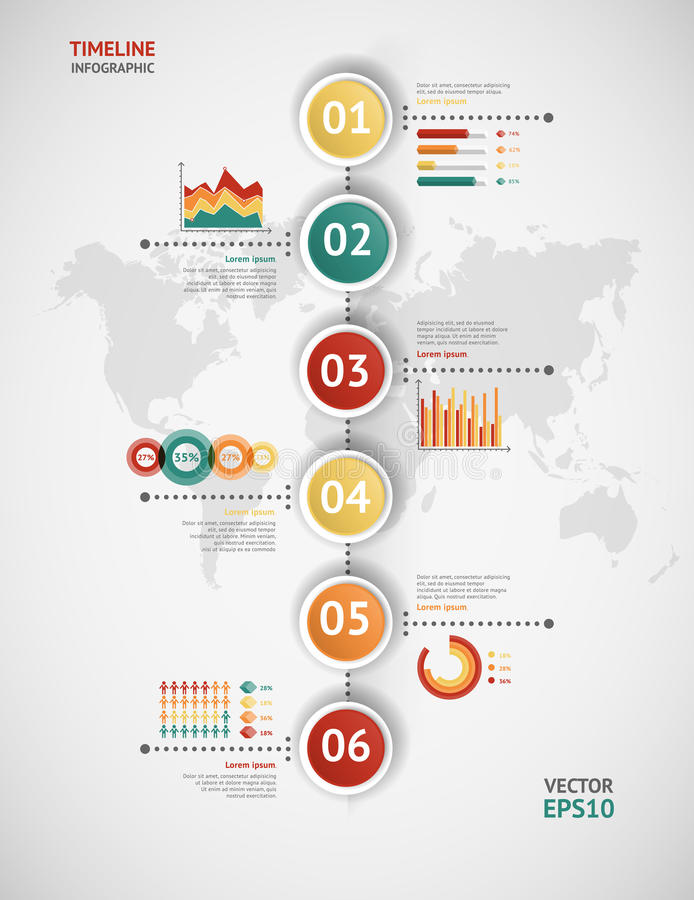 infographic时间安排的传染媒介 例证映射旧世界 向量例证