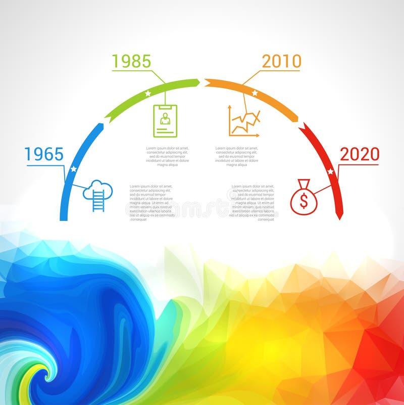 Infographic时间安排设计观念-与点和概述象的模板 想法显示信息,等级和 皇族释放例证