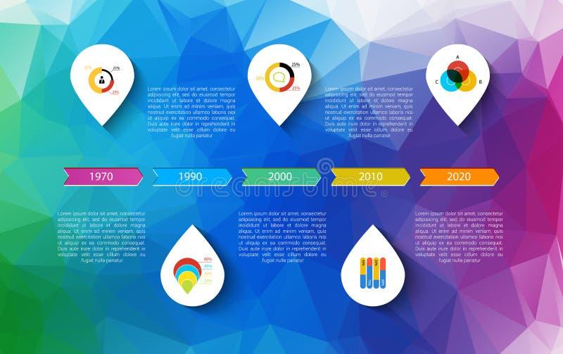 Infographic时间安排设计观念-与点和概述象的模板 想法显示信息,等级和 向量例证